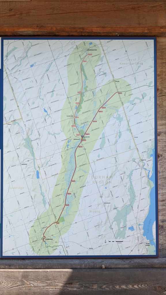 Map - Blackwater to Cannington or Uxbridge to Lindsay Rail Trail/TransCanada Trail