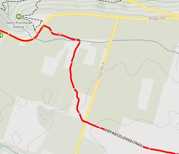 Dofasco 2000 Trail across from Devil's Punchbowl Lookout